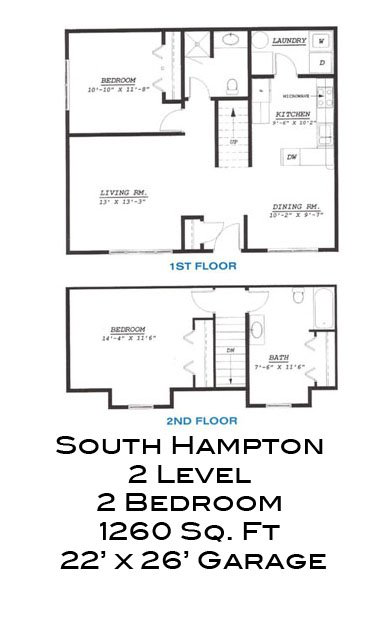 South Hampton 2 Level 2 Bedroom Townhome